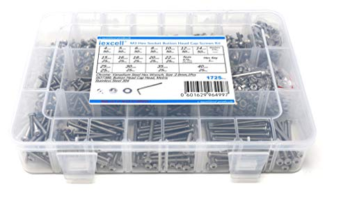 iExcell 1725 Pcs M3 x 4/5/6/8/10/12/14/15/16/18/20/22/25/30/35/40 mm Thread Pitch 0.5 mm Stainless Steel 304 Hex Socket Button Head Cap Screws Bolts Nuts Washers Assortment Kit