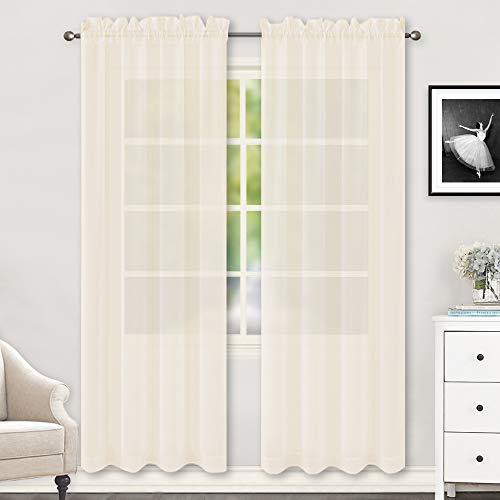 Beige Sheer Curtains 84 Inches Long Rod Pocket Sheer Voile Window Treatment Drapes Curtains for Living Room Bedroom,2 Panels 52 by 84 Inch Length