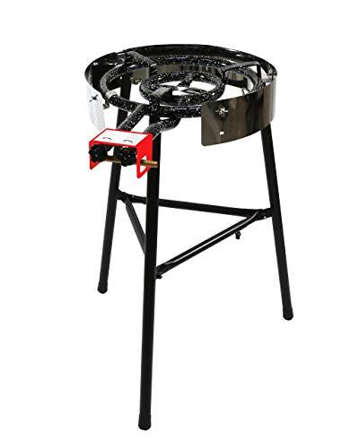 MUURIKKA Gasbrenner D-400, 40cm, 2-Brennringe (mit Langen Beinen, separat regulierbar, für Wok, Grillplatte & Paella, emailliert)
