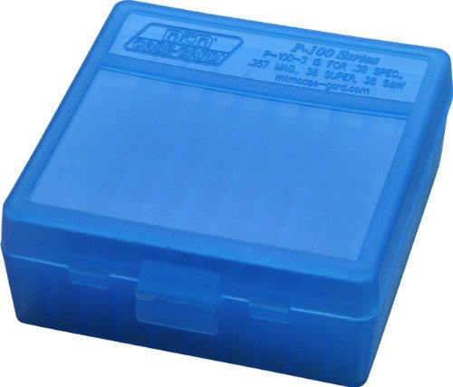 MTM 100 Round Flip-Top Ammo Box 38 357 Cal (Clear Blue)