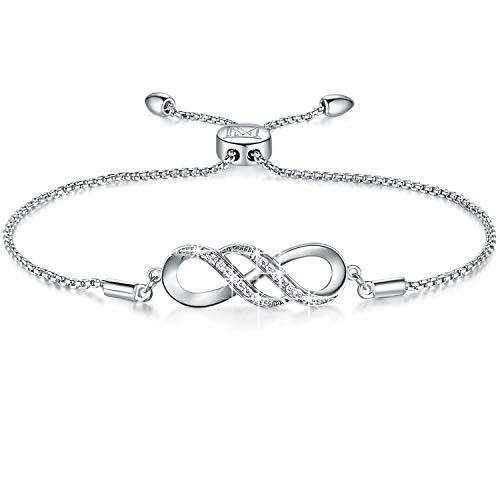 NINAMAID Unendlichkeit Symbol Damen Armband Frauen Silber 925 Liebes Zirkonia Armkette Verstellbar Charm Armband Schmuck