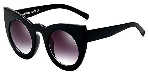 BOZEVON Gafas de sol Retras del Estilo del ojo de Gato del Partido de la Manera de las Mujeres Gafas Lindas Lentes de la Lente de Color del Gradiente Negro-Gris C4