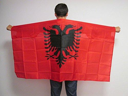 AZ FLAG UMHANGFLAGGE ALBANIEN 150x90cm - ALBANISCHE Cape Fahne 90 x 150 cm - flaggen