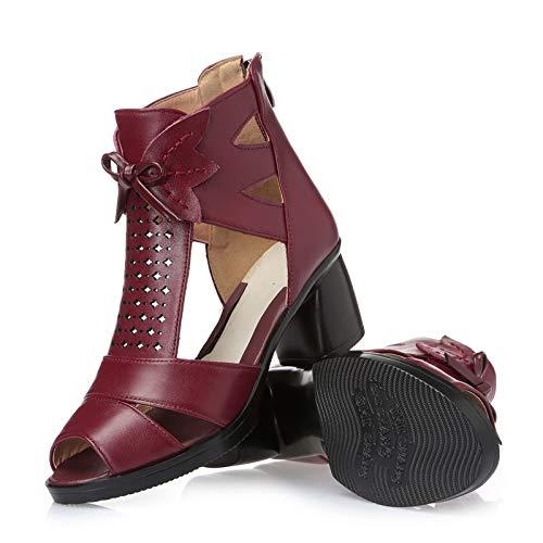LXYYBFBD Women'S Boots, Boheemse Retro Romeinse vissen Mond Schoenen Zomer Hoge Sandalen Met Grote Maat Mode Enkele Laarzen Lente En Herfst Laarzen Vrouwen Laarzen Rode Wijn Rome
