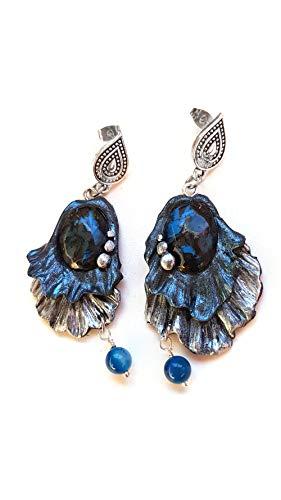Pendientes Fantasia Azul hechos a mano con arcilla polimerica, pieza unica