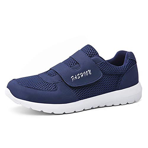 Leader Show Men's Casual Comfort Walking Shoes Ultralight Flats Non-Slip Hook & Loop Fashion Sneakers (10.5, Blue)