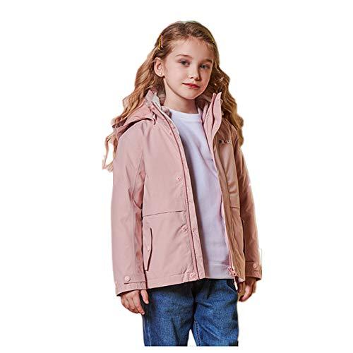 TWW Kinderskianzüge, Jungen und Mädchen im Freien Winddicht, wasserdicht und warm DREI-in-Eins-Jacken, einfach und dick für große Kinder,Pink 110