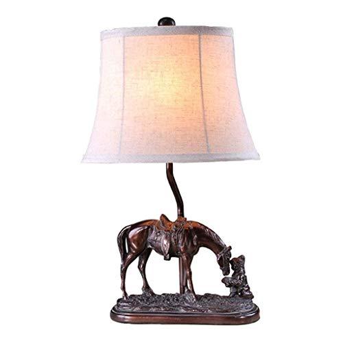 JYDQM Lámpara de Escritorio American Pony Retro Dormitorio Lámpara de mesilla Creativa Decoración Continental Estudio Lámpara de Mesa Luz