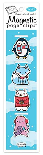 Arctic Penguin, Fox, Polar Bear, Seal Illustrated Magnetic Page Clips Set of 4 by Re-marks