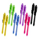SyPen Invisible Disappearing Ink Pen Marker Secret spy Message Writer with uv Light Fun Activity Entertainment for Kids Party Favors Ideas Gifts and Stock Stuffers (12 Pack)