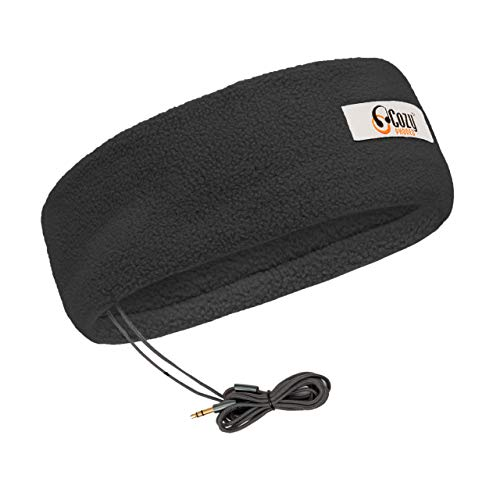 CozyPhones Sleep Headphones with Travel Bag - Ultra Thin Earphones - Most Comfortable Headphones for Sleeping - Perfect for Air Travel, Relaxation, Meditation & Insomnia - BLACK