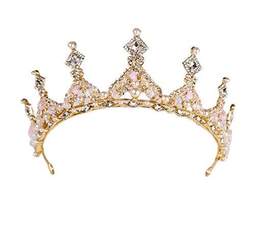 Damen Perle Kristall Hochzeit Haarband Braut Tiara Haarreif Krone Diadem Gold