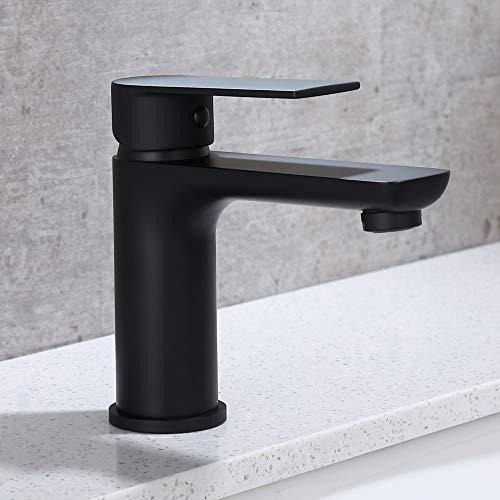 DUTRIX Grifo de lavabo negro mate con burbujeador Grifos de Baño Grifo de Lavabo Latón Monomando