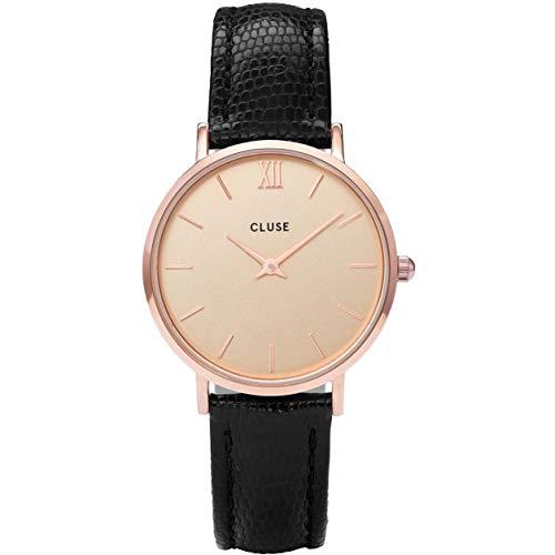 Cluse Damen Analog Quarz Uhr mit Leder Armband CL30051