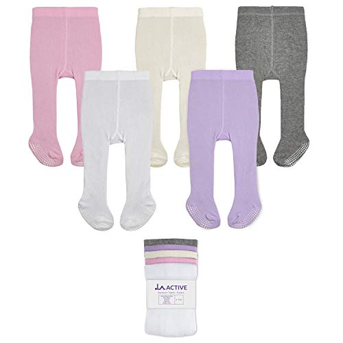LA Active Polainas Antideslizantes Agarre - 5 Pares - Bebé Niña Infantil Recién Nacido - Algodón (Rosa/Blanco/Marfil/Lavanda/Gris, 12-24 Meses)