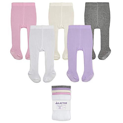 LA Active Baby Tights - 5 Pairs - Non Skid/Slip Cotton (Pink/White/Ivory/Lavender/Grey, 12-24 Months)