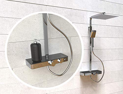 SCHÜTTE OCEAN Duschsystem mit Thermostat und Glasablage-Duschset mit 30x30cm, Regendusche mit Wandhalterung und Duschkopf-Duschpaneel Duschsäule in Chrom/Anthrazit 60531