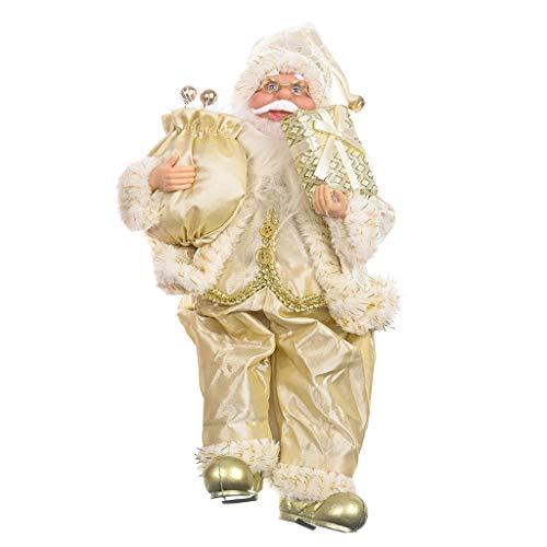61uourGE Christmas Santa Claus Figurine Decoration Medium Size Ornament Enjoyable Gift Doll Toy Table Decor Festival Present - Sitting Posture 12'' (D)