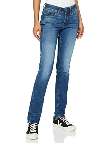 G-STAR RAW Damen Jeans Midge Mid Waist Straight, Medium Indigo Aged 8968-6028, 28W / 32L