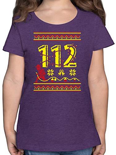 Weihnachten Kind - 112 Feuerwehrmann - Wintermuster - 116 (5/6 Jahre) - Lila Meliert - Rundhals - F131K - Mädchen Kinder T-Shirt