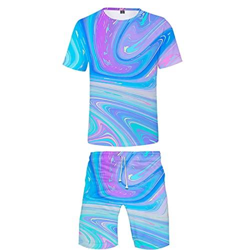 Troncos de Baño Divertidos Impresos en 3D para Hombre Ropa de Playa de Secado Rápido Pantalones Cortos de Baño y Camiseta de Manga Corta Camiseta de Cuello Redondo de Moda de Verano(Azul 1,XS)