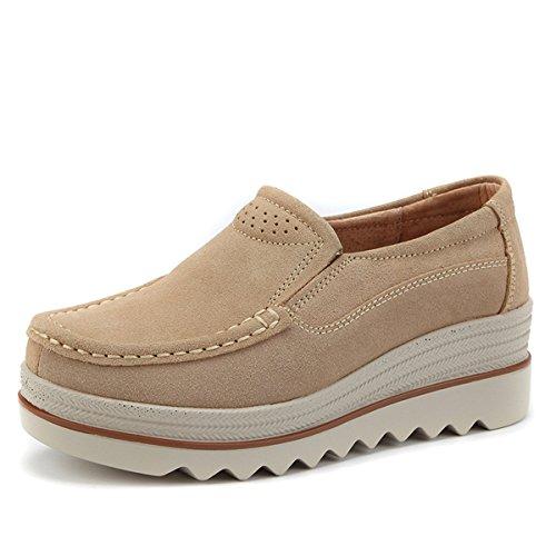 gracosy Mocasines Mujeres Cómodos Zapatos de Cuña de Gamuza Suave Toning Rocker Plataforma Oculta Talón Zapatillas de Deporte Casual Moda Zapatos de Conducción