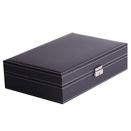 CCAN Automatischer Uhrenbeweger, Uhrenbox Abschließbare Schmuckuhren Aufbewahrungsbox mit Spiegel für Frauen Wathes Box Display (Farbe: Schwarz, Größe: Freie Größe) Display Happy Life