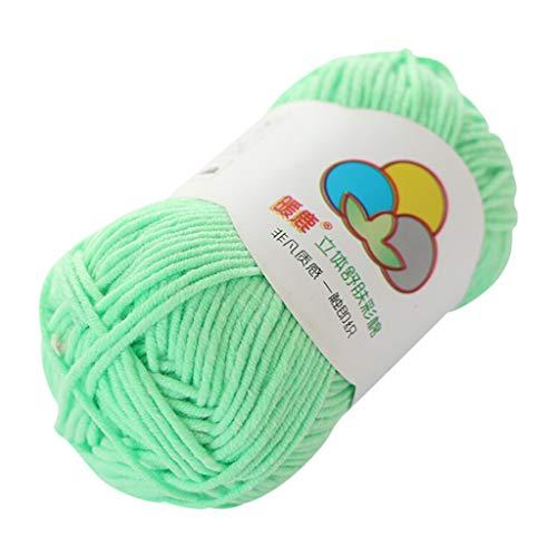 Janly Clearance Sale Lana tejida a mano, 5 hebras de algodón con leche, cálido y suave, tejido a mano, tejido de punto, poliéster, para matar el tiempo y pasatiempos (verde menta)