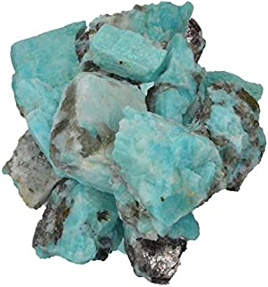 Hypnotic Gems Materials: 1/2 lb Bulk Rough Amazonite Stones from Madagascar - Raw Natural Crystals for Cabbing, Cutting, Lapidary, Tumbling, Polishing, Wire Wrapping, Wicca and Reiki Crystal Healing