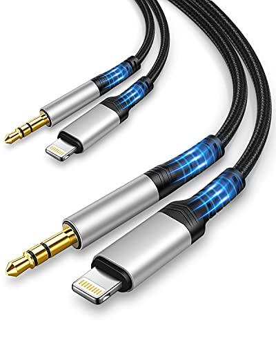 Cable de Audio iPhone 1M 2 Pack [Apple MFi Certificado] Adaptador Lightning...