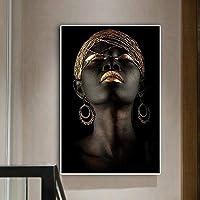 キャンバスのポスターとプリントに熟考者黒アフリカのヌード女性絵画スカンジナビアの壁アート画像リビングルーム60x80cmフレームレス