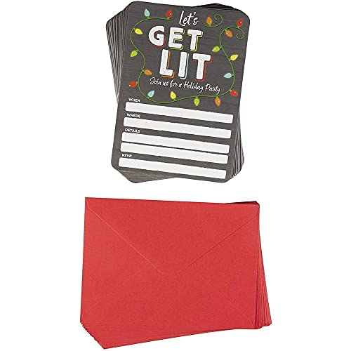 Let's Get Lit Christmas Invitation Cards with Envelopes for Holiday Party (5 x 7 In, 50 Pack)