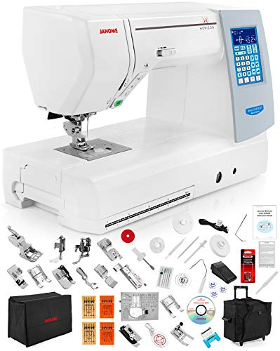 Janome Memory Craft Horizon 8200 QCP Special Edition Computerized Sewing Machine w/Black Roller Trolley Case + Semi-Hard Cover + Much More!