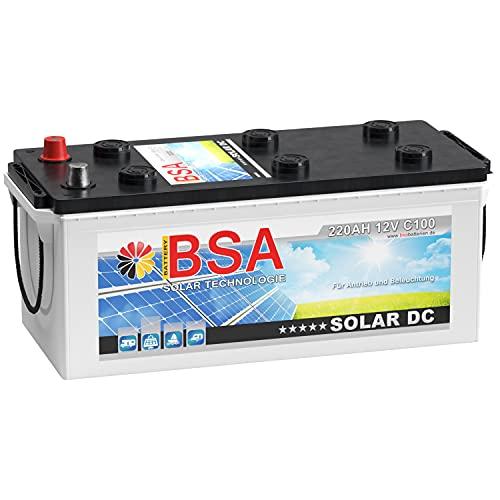 BSA Solar DC 12V 220Ah Batterie Solarbatterie Versorgungsbatterie Boot Wohnmobil - 6 Grössen (220Ah)