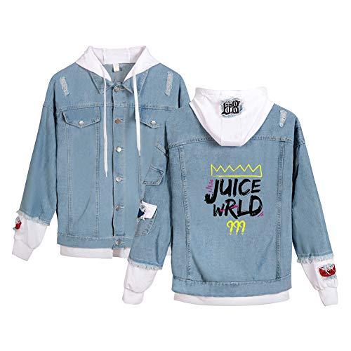 Juice WRLD Chaqueta Vaquera con Capucha Mujer Hombre Hip Hop Sudadera 2 en 1 Patchwork Abrigo Jeans Old School Blazer Denim Bomber Piloto Jacket Aviator Cardigan Oversize Jaqueta C04173NZ01232XL