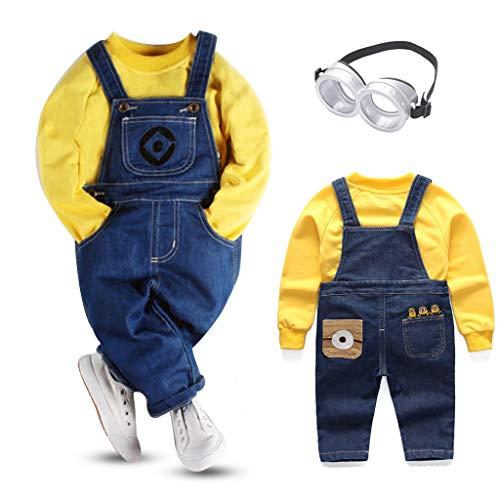 Minion Cosplay Disfraz para niños Monos de Manga Larga Disfraz de Minion Gafas Minions Adecuado para Otoño/Invierno Primavera