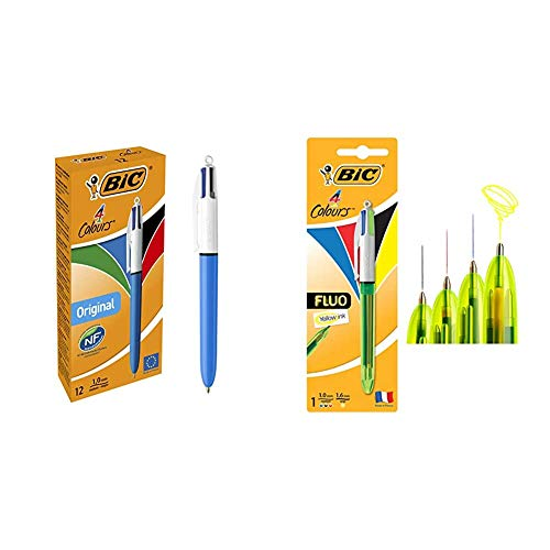 BIC 8934642-4 Original bolígrafos Retráctiles punta media (1,0 mm) – Caja de 12 unidades + 4 Fluo bolígrafos Retráctiles - Tinta Negra, Azul, Rojo y Amarillo Fluorescente, Blíster de 1 Unidad