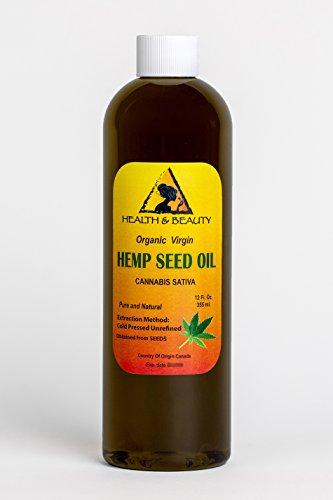 Hemp Seed Oil Unrefined Organic Virgin Carrier Cold Pressed Pure 36 oz, 1065 ml