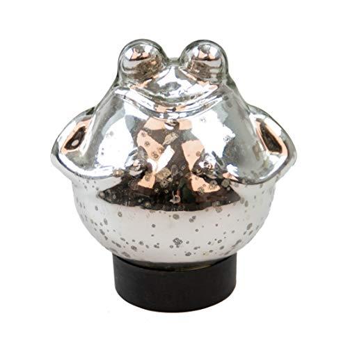Bollweg Schwimm-Frosch mittel Maße 12cm x 13cm in Silber/glänzend aus Glas