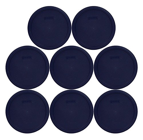 Set of 8 Pyrex Blue Round Storage Lid Cover Fits 6 & 7 Cup Round Dishes #7402-PC (8) by Pyrex
