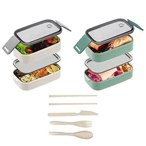 Lubox Premium Bento Box - Nachhaltige Lunchbox für Kinder und Erwachsene - Auslaufsicher und Mikrowellengeeignet - Dünne Lunch Meal Prep Container Boxen Beige
