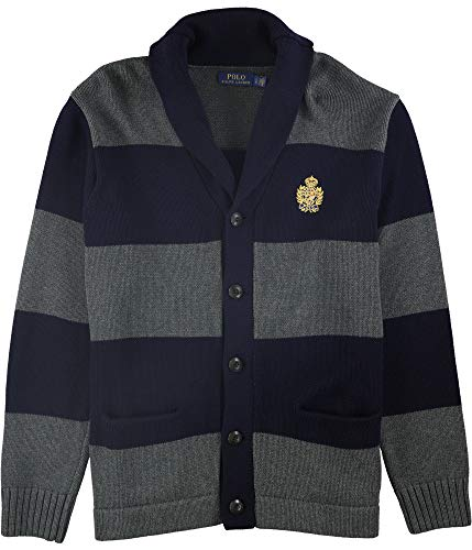 Ralph Lauren Mens Shawl Collar Cardigan Sweater, Blue, Large