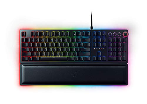 Razer Huntsman Elite Gaming Keyboard: Fastest Keyboard Switches Ever - Clicky Optical Switches - Chroma RGB Lighting - Magnetic Plush Wrist Rest - Dedicated Media Keys & Dial - Classic Black