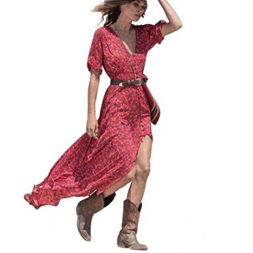 K-youth Vestido para Mujer, 2018 Chic Vestidos Largos Mujer Verano Boho Largo Cóctel Fiesta Vestido de Mujer Atractivo Cuello en v Chiffón Vestido con Aberturas Verano de Playa (Rojo, M)