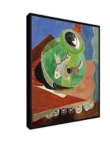 weewado Oskar Moll - Poisson en Verre Vert 40x50 cm Impression sur Toile Cadre Flottant - Art Mural - Vieux Maîtres/Musée