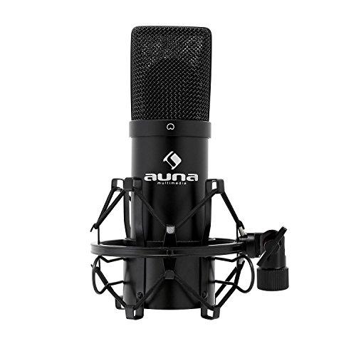 auna MIC-900B, USB Kondensator-Mikrofon, Gaming-Mikrofon, Standmikrofon für Gesangs- & Sprachaufnahmen, PC und Studio, 16 mm Kapsel, 320Hz - 18KHz, schwarz