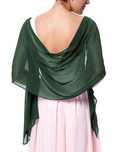 Elegant Sheer Long Scarves Wraps for Evening Party Dark Green