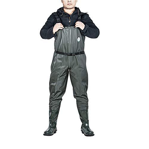 Vadeadores De Pecho Pesca, Traje Lluvia Cuerpo Completo Impermeable Para Hombres Con Botas Pie Bota Caza PVC Cinturón Vadeo Traje Pesca Una Pieza,Dark green,EU43