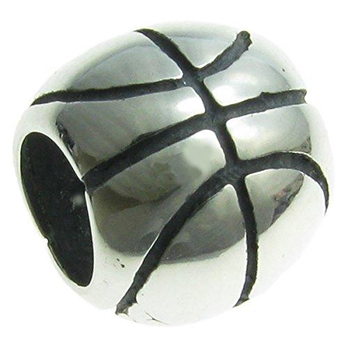 Queenberry Basketball-Anhänger aus Sterlingsilber im europäischen Stil.