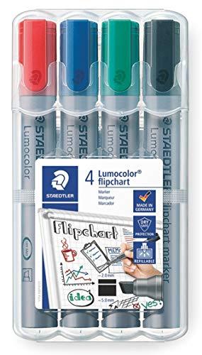 Staedtler Lumocolor 356 B WP4 Flipchart-Marke, nachfüllbar, Staedtler Box mit 4 Farben